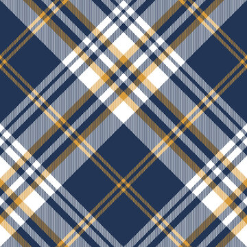 Plaid pattern large in blue, yellow, white. Seamless modern textured large bright check plaid background for fashion shirt, blanket, duvet cover, other spring summer autumn winter fabric design.