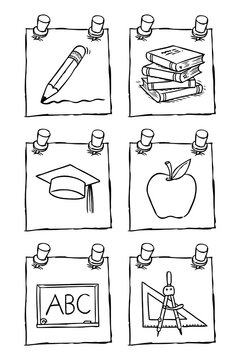 Hand drawn black and white set of education icons in post-its. All elements are layered separately. Editable for changing colors. Vector EPS.