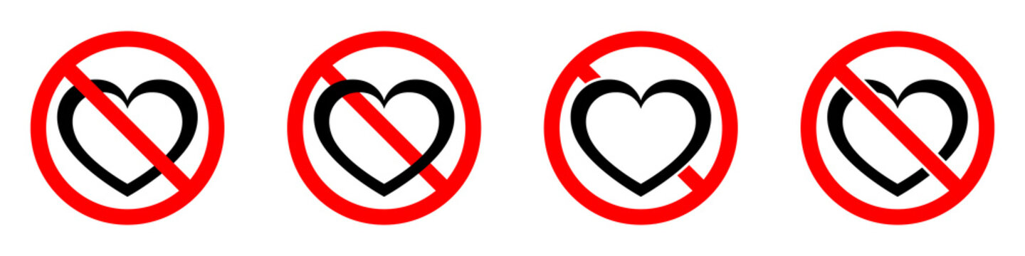 Love is prohibited. Stop heart icon. Vector illustration.