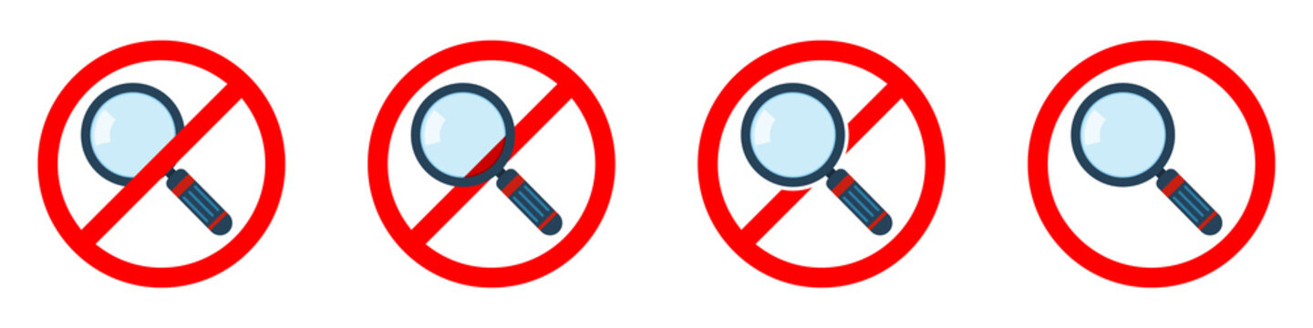 Stop or ban red round sign with magnifier icon. Vector illustration.