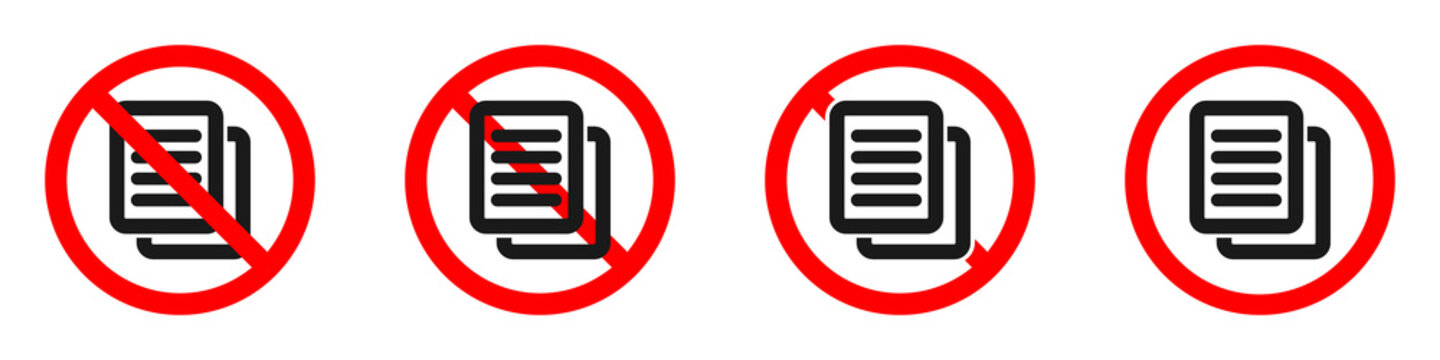 Stop or ban red round sign with document icon. File is prohibited