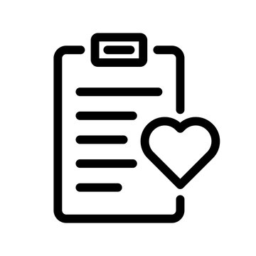 Wishlist icon. Clipboard with heart icon. Vector favourite list icon.