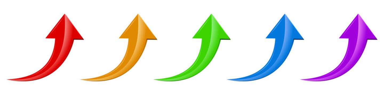 Arrow icon. Set of up arrows. Vector illustration.