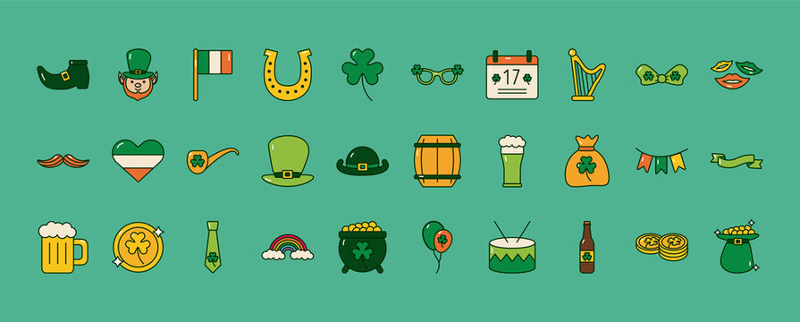 bundle of thirty saint patricks day set icons