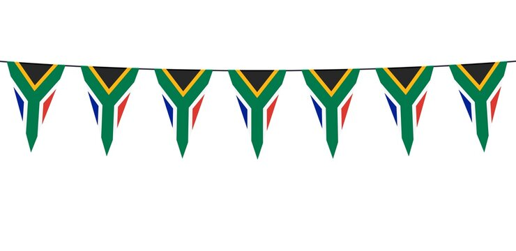 Garland banner in the colors of South Africa on a white background