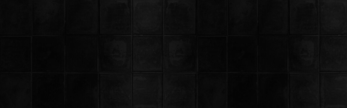 Panorama of Black porcelain floor tiles pattern and background seamless