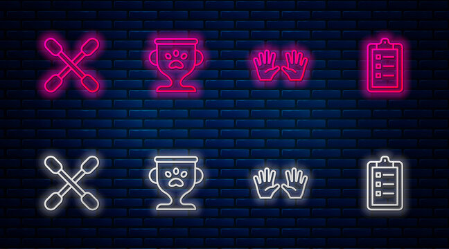 Set line Pet award, Medical rubber gloves, Cotton swab for ears and Grooming salon price list. Glowing neon icon on brick wall. Vector.