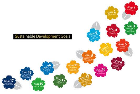 SDGsの17の目標CMYK指定色スウォッチ付桜のアイコンライン(英語)