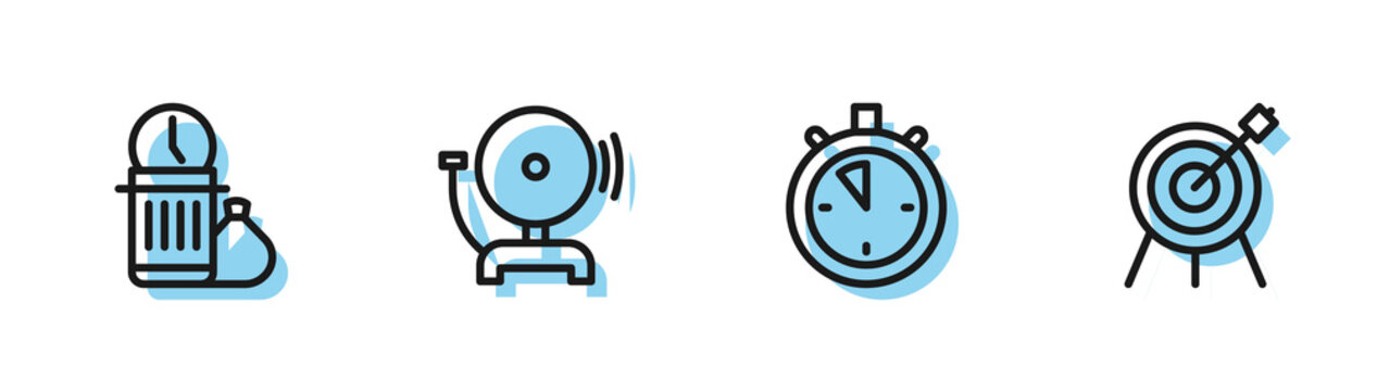Set line Stopwatch, Waste of time, Ringing alarm bell and Target sport icon. Vector.