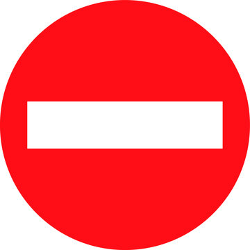 Rounded red no entry sign EPS 10