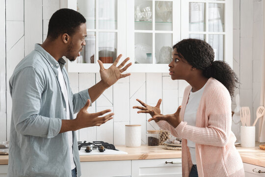 Relationship Problems. Young African American Couple Arguing In Kitchen