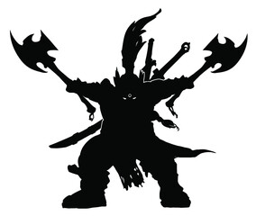 Fototapeta The black silhouette of a dwarf warrior brandishing two axes to the sides, two swords sheathed behind him, his eyes glowing in the dark. 2d illustration