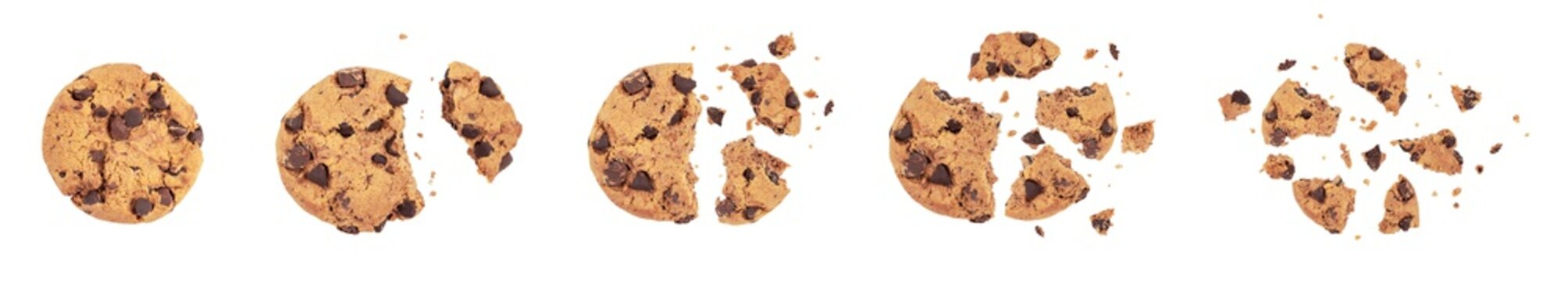 Isolated clipping path of die cut dark chocolate chip cookies piece stack and crumbs on white background of closeup tasty bakery organic homemade American biscuit sweet dessert