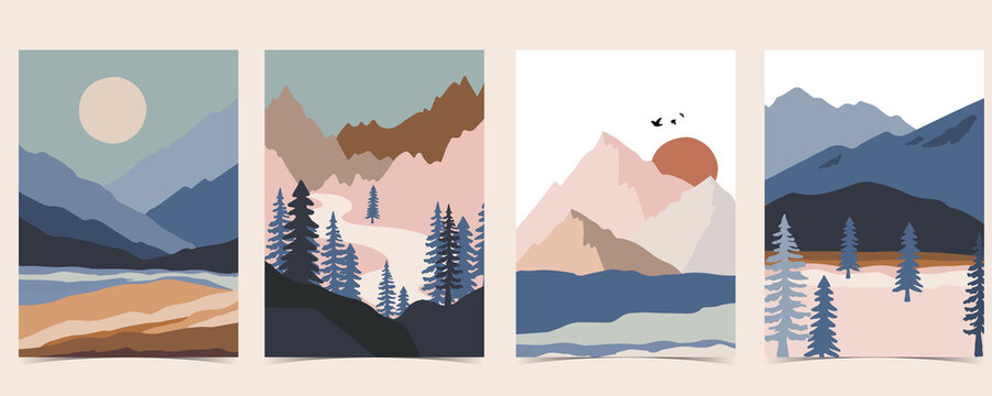 Collection of nature landscape background set with mountain,sea,sun,moon.Editable vector illustration for website, invitation,postcard and poster