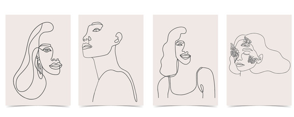 Fototapeta Collection of line design with woman.Editable vector illustration for website, invitation,postcard and banner