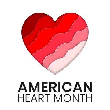 American Heart Month banner design template. Vector illustration of stylized paper cut heart. Concept of awareness from heart problem and blood vessel disease. Celebrate annual in february