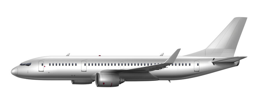 Blank Glossy White Airplane Or Airliner Side View