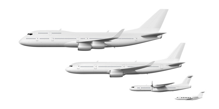 3D White Business Airliners Corporate Jet Set