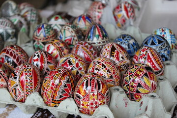 Eggs painting traditional, Hand painted rustic Easter eggs
