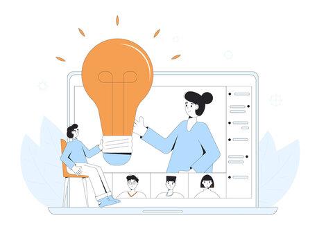 Online education. Digital learning. Teacher gives a lecture on computer screen. Internet webinar or online video training. Vector color line art illustration.