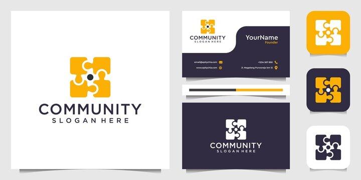 Community puzzle yellow logo inspiration set