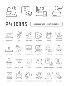 Set of linear icons of Freelance and Online Education
