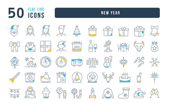 Set of linear icons of New Year