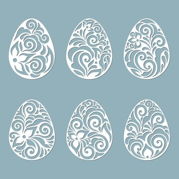 leaves, flowers, carved in egg. Vector illustration. Easter eggs for Easter holidays. Set of paper Easter egg stickers. Laser cut. Vector illustration. Pattern for the laser cut, plotter and screen