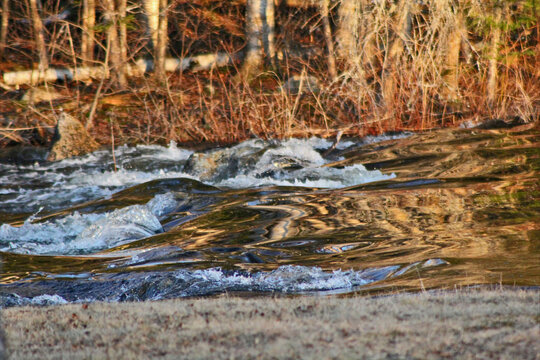 Flowing creek in the spring thaw