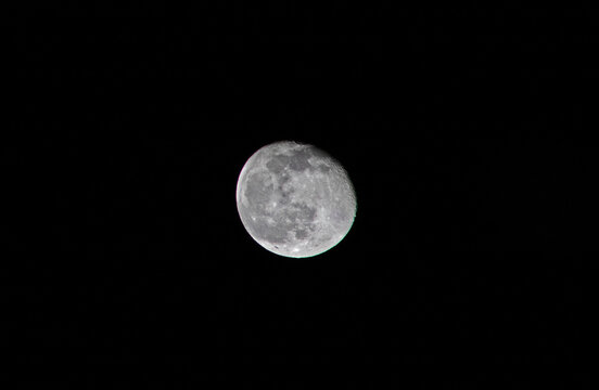 Moon at 94 percent with craters visible - Canon EOS Rebel T7 F10 1-125 iSO-100 300mm