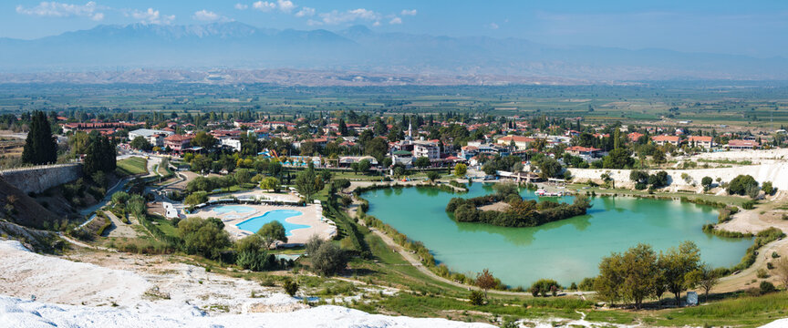 The Thermal Pools and Travertine Terraces of Pamukkale In Denizli Province, Turkey