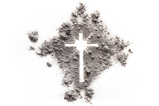 Ash Wednesday and Lent cross made of dust as Jesus suffering, christian religion symbol of God resurrection with light glow