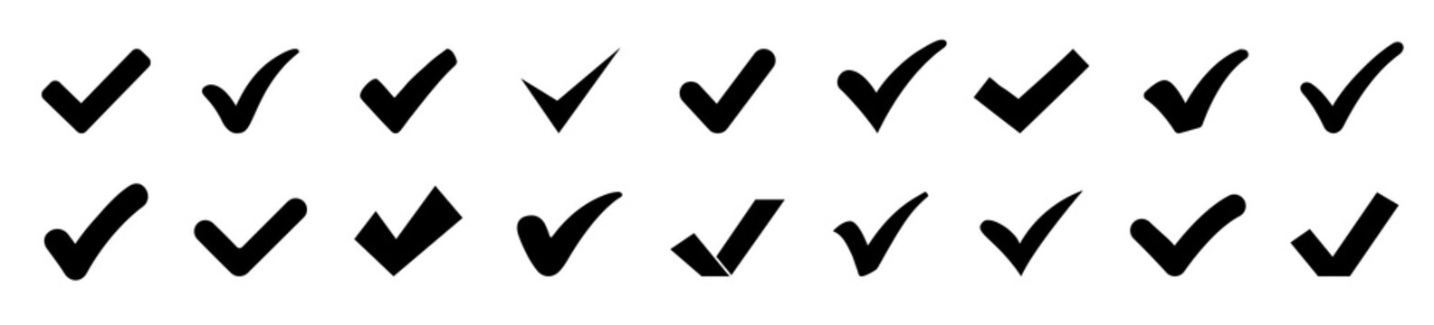 Approval check mark icons set isolated, checklist symbols collection, set quality sign, check marks tick – stock vector