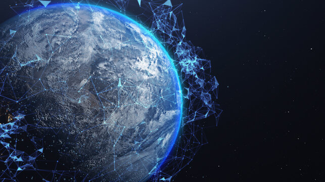 A networking concept. Global digital connections. Elements of this image furnished by NASA. 3d illustration