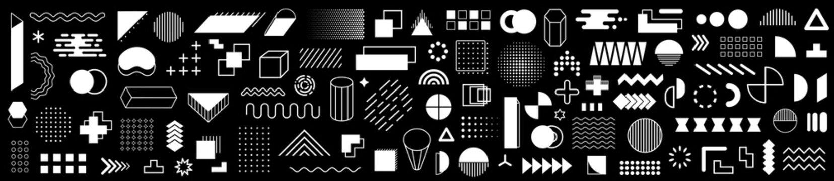 Set of 115 geometric shapes icons. Memphis design retro elements. Collection trendy halftone geometric shapes. Retro funky graphic, 90s trends designs and vintage print element collection - vector