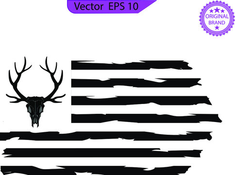 Distressed American deer hunting Flag , hunter. USA flag. Deer and Antlers. USA flag Deer Hunting - t shirt design
