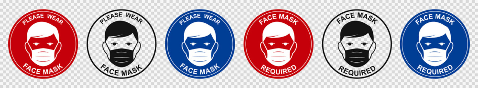 Face mask required sign. Attention do not enter without a face mask. Human wearing medical mask icon, protecting themselves against infection. Coronavirus - COVID-19, virus contamination - vector