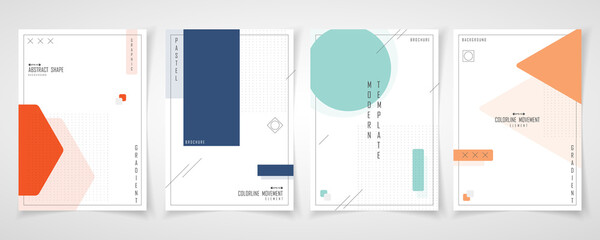 Obraz Abstract minimal design of set brochure geometric pattern template. Overlapping with element style of cover a4 background. illustration vector - fototapety do salonu