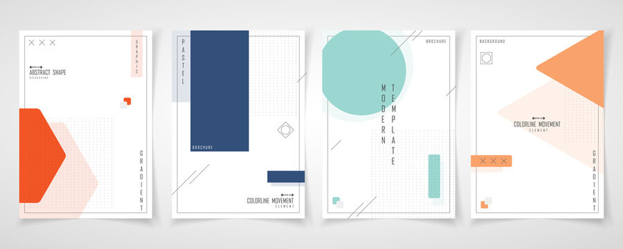 Abstract minimal design of set brochure geometric pattern template. Overlapping with element style of cover a4 background. illustration vector