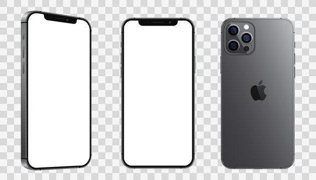 Kiev, Ukraine - January 30, 2021: Apple iPhone 12 Pro or Pro Max in graphite color. Mock-up screen front view iphone with white screen, back side phone and angle.