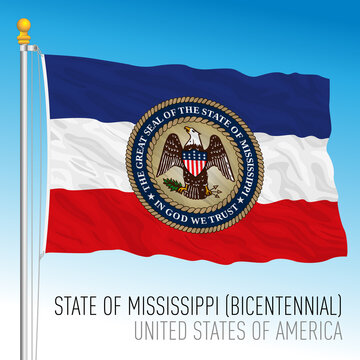 Mississippi federal state flag, Bicentennial, United States, vector illustration