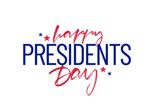 Lettering composition of Happy Presidents Day with stars.