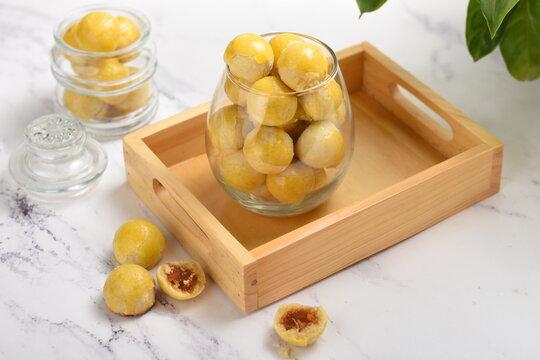 Nastar or indonesian pineapple tart cookies in glass jar.very popular for serving to celebrate Eid al fitr