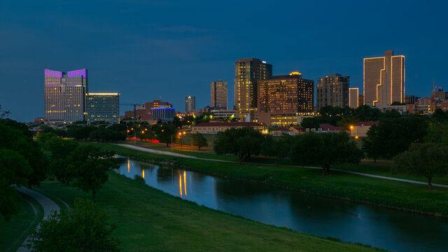 Fort Wroth Skyline at Night with Trinity Trail in Fort Worth,  Texas