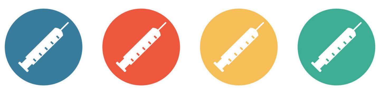 Bunter Banner mit 4 Buttons: Spritze zum Impfen