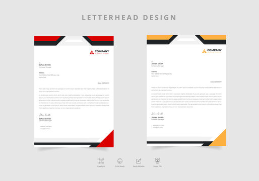 Simple letterhead design set of two in geometric style Vector