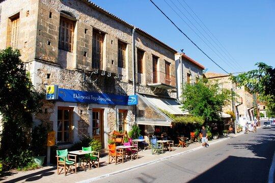 Street view at the traditional village of Kardamyli in Messiniaki Mani region, southwestern Peloponnese, Greece, October 28 2013.