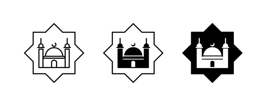 Islamic mosque icon, Religion, Islamic, Mosque, Prayer, Muslim mosque, islam icons set button, vector, sign, symbol, logo, illustration, editable stroke, flat design style isolated on white