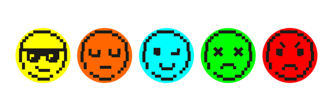Smile faces in pixel art. Various emoji icons. A set of different faces emotions. Cool in sunglasses, brooding, funny, dead, angry. Сollection of digital flat 8 bit icons. Vector illustration.
