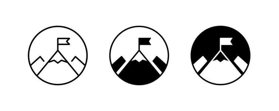 Mountain with flag on a peak Top of mountain with flag icon vector, filled Success, aim achievement, leadership, Mission, Mount, Climbing, conquered, way up, high in, Hiking, Target, Get on top design